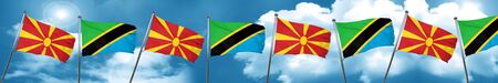 Macedonia flag with Tanzania flag, 3D rendering