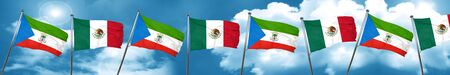 Equatorial guinea flag with Mexico flag, 3D rendering Stock Photo