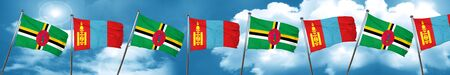 Dominica flag with Mongolia flag, 3D rendering Stock Photo