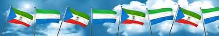 Equatorial guinea flag with Sierra Leone flag, 3D rendering Stock Photo