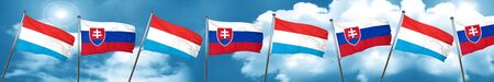 Luxembourg flag with Slovakia flag, 3D rendering