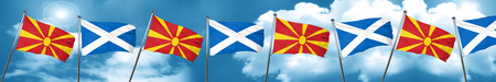 Macedonia flag with Scotland flag, 3D rendering Stock Photo