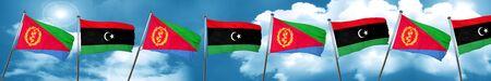 Eritrea flag with Libya flag, 3D rendering Stock Photo