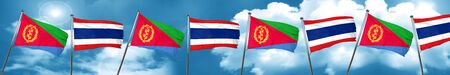 Eritrea flag with Thailand flag, 3D rendering