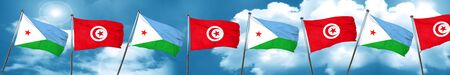 Djibouti flag with Tunisia flag, 3D rendering