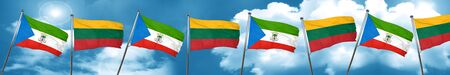 Equatorial guinea flag with Lithuania flag, 3D rendering
