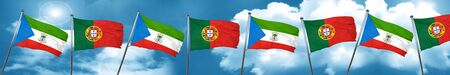 Equatorial guinea flag with Portugal flag, 3D rendering Stock Photo