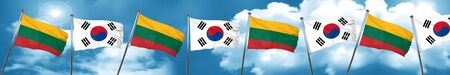 Lithuania flag with South Korea flag, 3D rendering Stock Photo