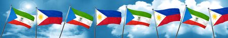 Equatorial guinea flag with Philippines flag, 3D rendering