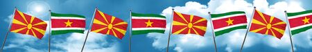Macedonia flag with Suriname flag, 3D rendering Stock Photo