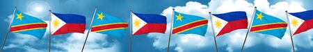 philippino: Democratic republic of the congo flag with Philippines flag, 3D rendering Stock Photo