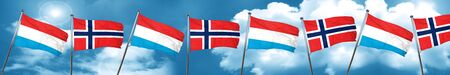 Luxembourg flag with Norway flag, 3D rendering