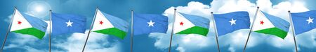 somalia: Djibouti flag with Somalia flag, 3D rendering