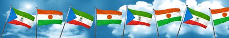 Equatorial guinea flag with Niger flag, 3D rendering