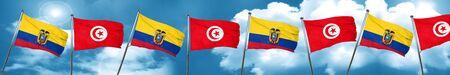 Ecuador flag with Tunisia flag, 3D rendering Stock Photo