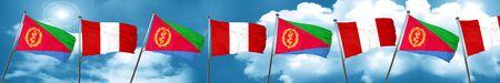 bandera de peru: Eritrea flag with Peru flag, 3D rendering