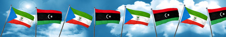Equatorial guinea flag with Libya flag, 3D rendering