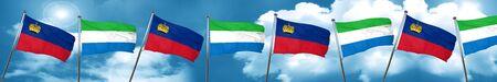 Liechtenstein flag with Sierra Leone flag, 3D rendering Stock Photo