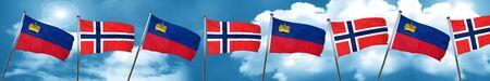 norway flag: Liechtenstein flag with Norway flag, 3D rendering