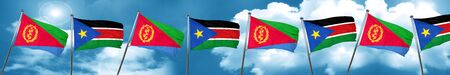 Eritrea flag with South Sudan flag, 3D rendering