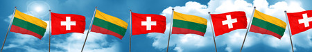 Lithuania flag with Switzerland flag, 3D rendering