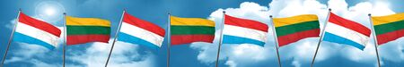 lithuania: Luxembourg flag with Lithuania flag, 3D rendering Stock Photo