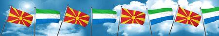 Macedonia flag with Sierra Leone flag, 3D rendering