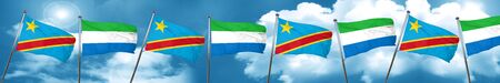 Democratic republic of the congo flag with Sierra Leone flag, 3D