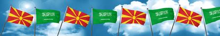 Macedonia flag with Saudi Arabia flag, 3D rendering