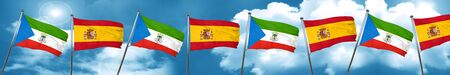 Equatorial guinea flag with Spain flag, 3D rendering Stock Photo