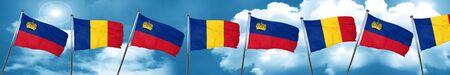 combines: Liechtenstein flag with Romania flag, 3D rendering Foto de archivo
