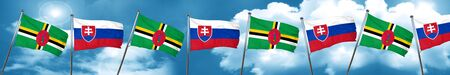 Dominica flag with Slovakia flag, 3D rendering