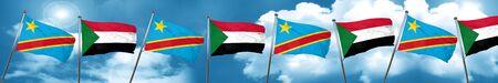 Democratic republic of the congo flag with Sudan flag, 3D rendering