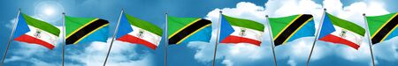 Equatorial guinea flag with Tanzania flag, 3D rendering Stock Photo