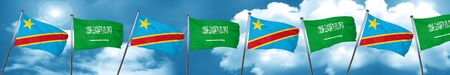 combines: Democratic republic of the congo flag with Saudi Arabia flag, 3D rendering
