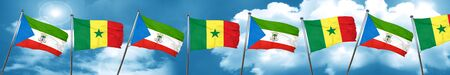 Equatorial guinea flag with Senegal flag, 3D rendering Stock Photo