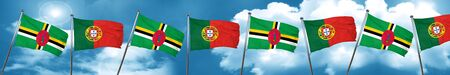 Dominica flag with Portugal flag, 3D rendering