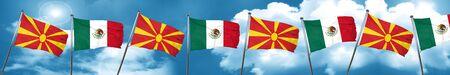 Macedonia flag with Mexico flag, 3D rendering Foto de archivo