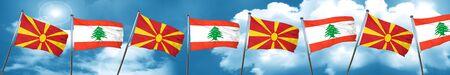 Macedonia flag with Lebanon flag, 3D rendering Stock Photo