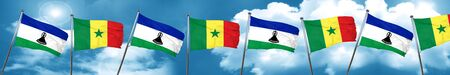 Lesotho flag with Senegal flag, 3D rendering Stock Photo