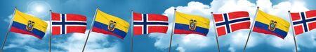 norway flag: Ecuador flag with Norway flag, 3D rendering