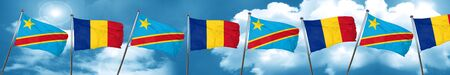 Democratic republic of the congo flag with Romania flag, 3D rendering