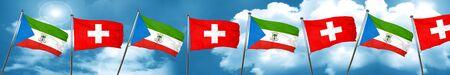 Bandera de Guinea Ecuatorial con la bandera de Suiza, representación 3D
