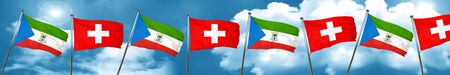 Equatorial guinea flag with Switzerland flag, 3D rendering Stock Photo