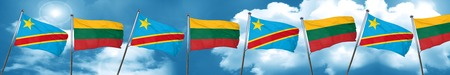 democratic: Democratic republic of the congo flag with Lithuania flag, 3D rendering