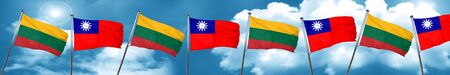 Lithuania flag with Taiwan flag, 3D rendering