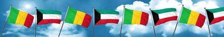 Bandera de Malí con la bandera de Kuwait, representación 3D