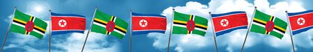 Dominica flag with North Korea flag, 3D rendering Stock Photo