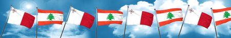 Malta flag with Lebanon flag, 3D rendering