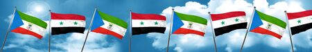Equatorial guinea flag with Syria flag, 3D rendering